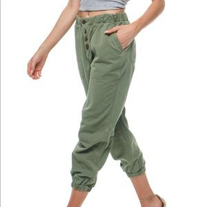 brand new free people green cadet jogger pants